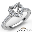 Diamond Engagement Heart Semi Mount Shared Prong Setting Ring 14k White Gold 0.5Ct - javda.com