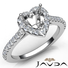 Diamond Engagement Heart Semi Mount Shared Prong Setting Ring 14K W Gold 0.50Ct