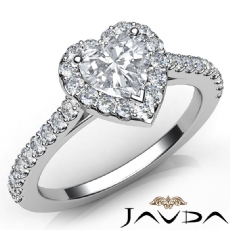 Shared Prong Setting Halo Heart diamond engagement valentine's deals in 14k Gold White