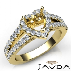 Gorgeous Halo Prong Diamond Engagement Heart Semi Mount Ring 14k Gold Yellow  (0.75Ct. tw.)