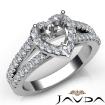 Gorgeous Halo Prong Diamond Engagement Heart Semi Mount Ring 14k White Gold 0.75Ct - javda.com
