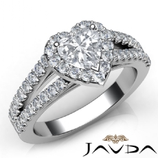 Halo Split Shank U Cut Pave Heart diamond engagement Ring in 14k Gold White
