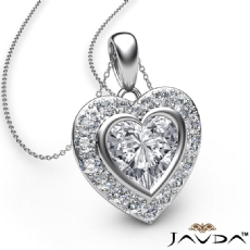 Diamond Halo Heart Charm Pendant Necklace Platinum 950 18 Inch Chain  (0.56Ct. tw.)
