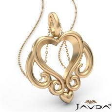 Gold Scroll Open Heart Pendant 18 Inch Chain 14k Yellow Gold 3.3 Gram