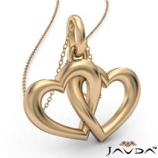 Interlocking Gold Two Heart Pendant 18 Inch Chain In 14k Yellow Gold 3.1 Gram