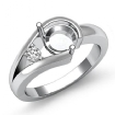 0.05Ct Diamond Solitaire Style Engagement Ring 14k White Gold Semi Mount Setting - javda.com