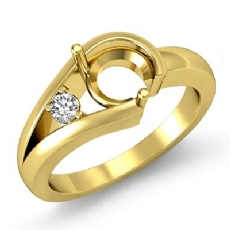 Diamond Solitaire Style Engagement Ring 14k Gold Yellow Semi Mount Setting (0.05Ct. tw.)