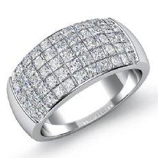 2.20 CT Princess Diamond Mens Wedding Band White Gold