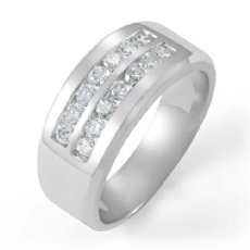 0.85 Ct Two Row Channel Set Diamond Men's Half Wedding Band in 14k White Gold