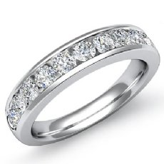 Diamond Women's Half Wedding Band 14k White Gold Round Channel Setting Ring 1Ct