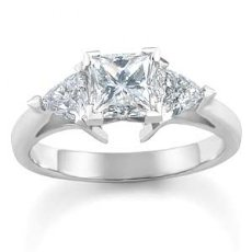 Princess Trillion Diamond Engagement Ring Three 3 Stone Setting 14k W Gold 1Ct
