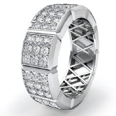 3 Row Diamond Vertical Cuts Men's Eternity Wedding Band 14k White Gold 1.90 Ct