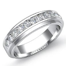 Men's Channel Set Round Diamond Half Wedding Band in 14k White Gold 0.70 Ct