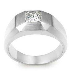 0.50CT Princess Diamond Mens Wedding Band Ring White Gold