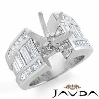 2.CT Princess Baguette Side Diamond Engagement Setting Ring 14k W Gold Semi Mount