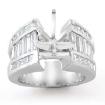3.2Ct Princess Baguette Side Diamond Engagement Setting Ring 14k White Gold Semi Mount - javda.com