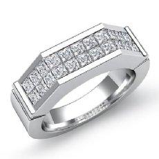 1.60 Ct Princess Diamond Man Wedding Ring 14k White Gold
