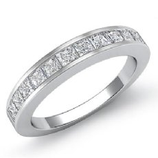 Princess Channel Set Diamond Womens Half Wedding Band Ring 14k White Gold 0.7Ct