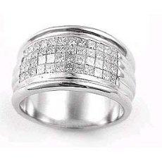 2.10 Ct Princess Diamond Men Engagement Ring 14k W Gold