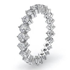 Round Prong Diamond Wedding Eternity Band Women's Ring in 14k White Gold 1.40Ct