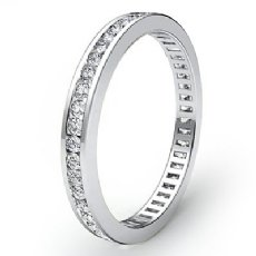 Women's Eternity Band Channel Set Diamond Engagement Ring 14k White Gold 0.7Ct