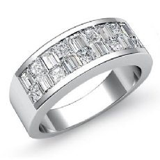 Princess Baguette Diamond Men's Half Wedding Band in 14k White Gold 1.40 Ct