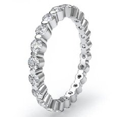 Women's Eternity Wedding Band Round Diamond Shared Prong Ring 14k W Gold 0.7Ct