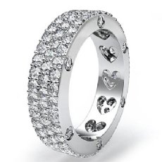 Bezel Pave 3Row Round Diamond Ring Womens Eternity Wedding Band Platinum 950  (2.4Ct. tw.)
