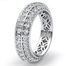 Trio Pave Round Diamond Wedding Womens Eternity Band 14k White Gold Ring 1.75Ct