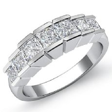Princess Square Channel Diamond Women's Wedding Ring in 14k White Gold Band 1Ct
