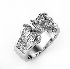 2.60 Ct. Princess & Baguette Diamond Wedding Anniversary Ring