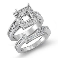 1.4Ct Diamond Engagement Bridal Setting Ring 14K White Gold Princess Semi Mount