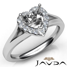 Diamond Engagement Heart Semi Mount 14K White Gold Halo Pave Setting Ring 0.20Ct