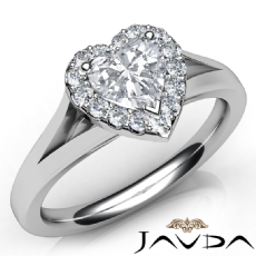Split Shank Halo Pave Set Heart diamond engagement Ring in 14k Gold White