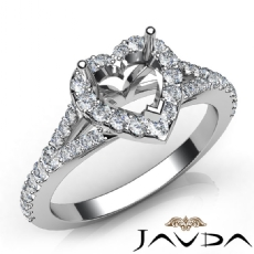 Diamond Engagement 14K White Gold Halo Pave Setting Heart Semi Mount Ring 0.50Ct