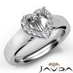 Heart Diamond Engagement Halo Pave Setting Semi Mount Ring 14k White Gold 0.2Ct - javda.com