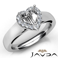 Heart Diamond Engagement Halo Pave Setting Semi Mount Ring 14K White Gold 0.20Ct