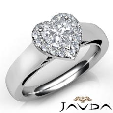 Halo Filigree Side-Stone Heart diamond engagement Ring in 14k Gold White