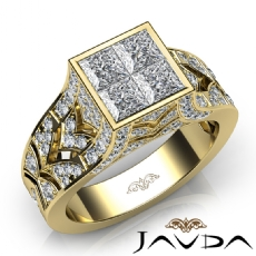 Pave Bezel Set Vintage Princess Round Diamond Engagement Ring 14k Gold Yellow  (1.7Ct. tw.)