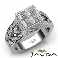 Pave Bezel Set Princess Round Diamond Engagement Ring 14k White Gold 1.70Ct
