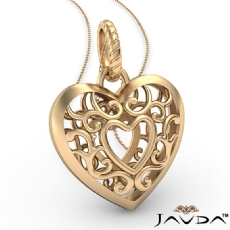 Puffed Filigree Heart Pendant Necklace 5.5 Gram 14k Yellow Gold 18 Inch Chain