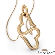 Infinity Style Double Open Heart Pendant Necklace 1.5 Gram 14k Yellow Gold 18 Inch Chain