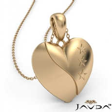 Filled Tiny Heart Pendant Necklace 14k Yellow Gold 2.5 Gram 18 Inch Rolo Chain