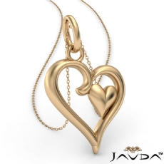 Gold Two Heart Pendant Necklace In 14k Yellow Gold 3.9 Gram 18 Inch Rolo Chain