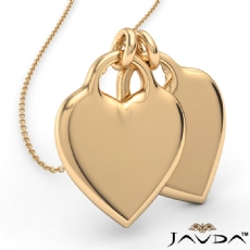 Double Heart Charm Pendant Necklace 14k Yellow Gold 4.3 Gram 18 Inch Rolo Chain