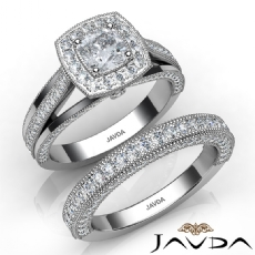 Halo Pave Milgrain Bridal Set Cushion diamond  Ring in 14k Gold White