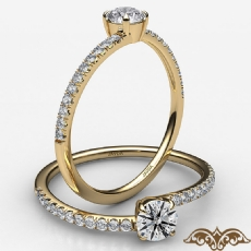 4 Prong French Cut Pave Sleek Round diamond  Ring in 18k Gold Yellow