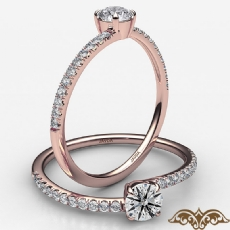4 Prong French Cut Pave Sleek Round diamond  Ring in 18k Rose Gold