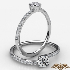 4 Prong French Cut Pave Sleek Round diamond  Ring in 18k Gold White