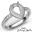 Diamond Engagement Halo Pave Setting Pear Semi Mount Ring 14k White Gold 0.45Ct - javda.com